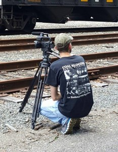 Teague filming at a rail yard in Dante, VA