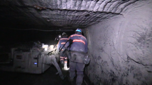 Coal miners working underground at a mine in Kentucky